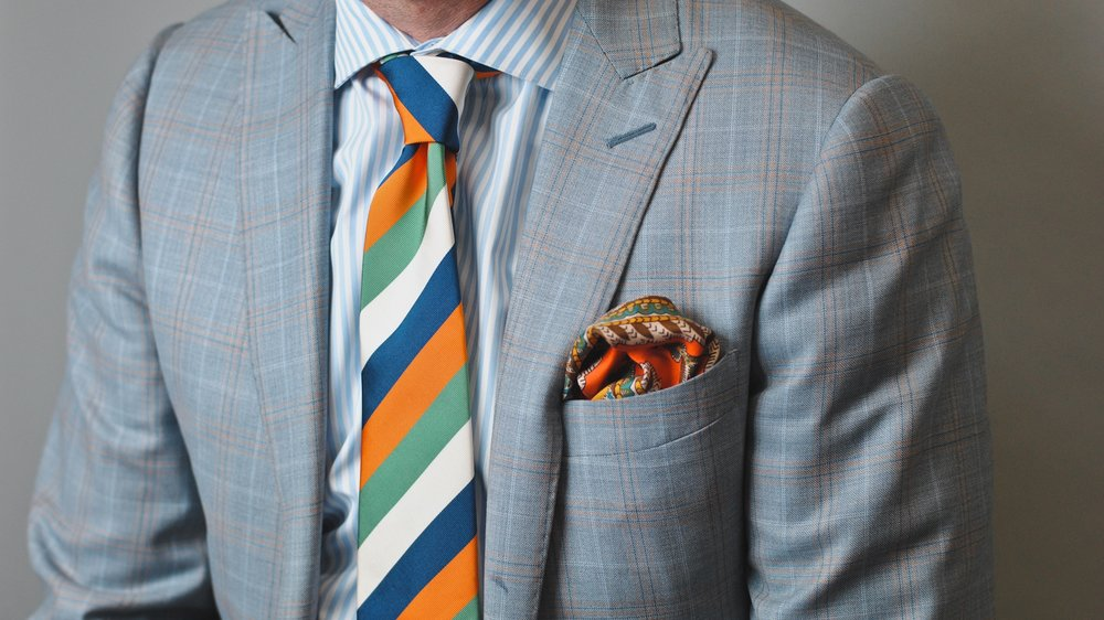 QG Custom Suit & Shirt, Seaward & Stern Necktie and Pocket Square
