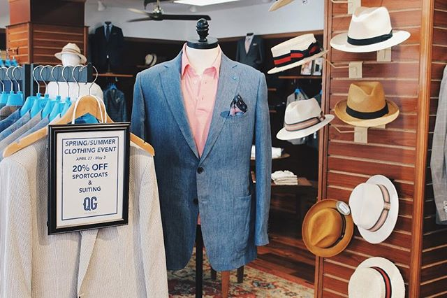 Spring/Summer Clothing Event starts today! Get 20% off Spring summer sport coats & suiting! 👔