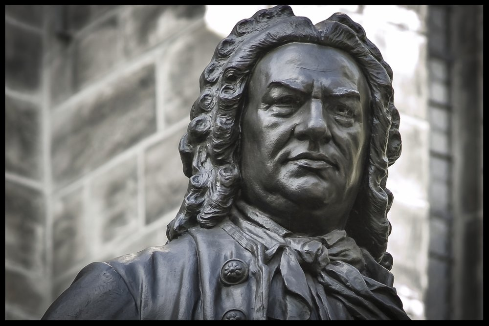 1908 Statue of Johann Sebastian Bach in front of the Thomaskirche in Leipzig, Germany