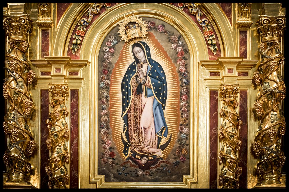 An original painting of Our Lady of Guadalupe.  Photography by Roderick Fenn ©2017