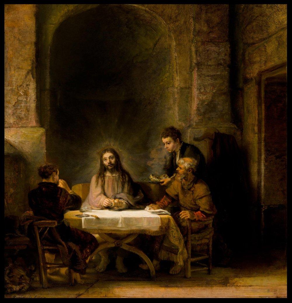 Pilgrims at Emmaus - Rembrandt Harmenszoon van Rijn (1606 – 1669)