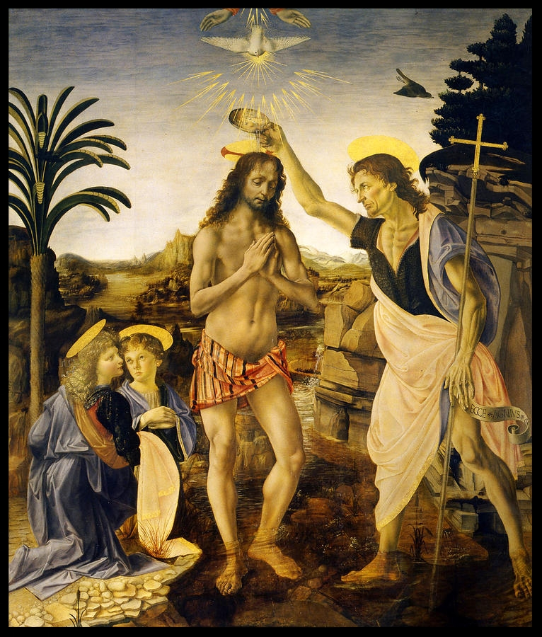 The Baptism of Christ at the Hands of John the Baptist - Leonardo da Vinci