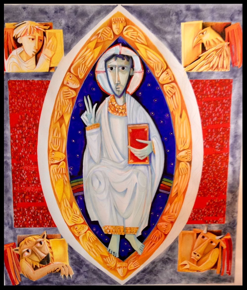 Maquette of the monumental tapestry of Christ, Lord of the Universe, for Christ Cathedral