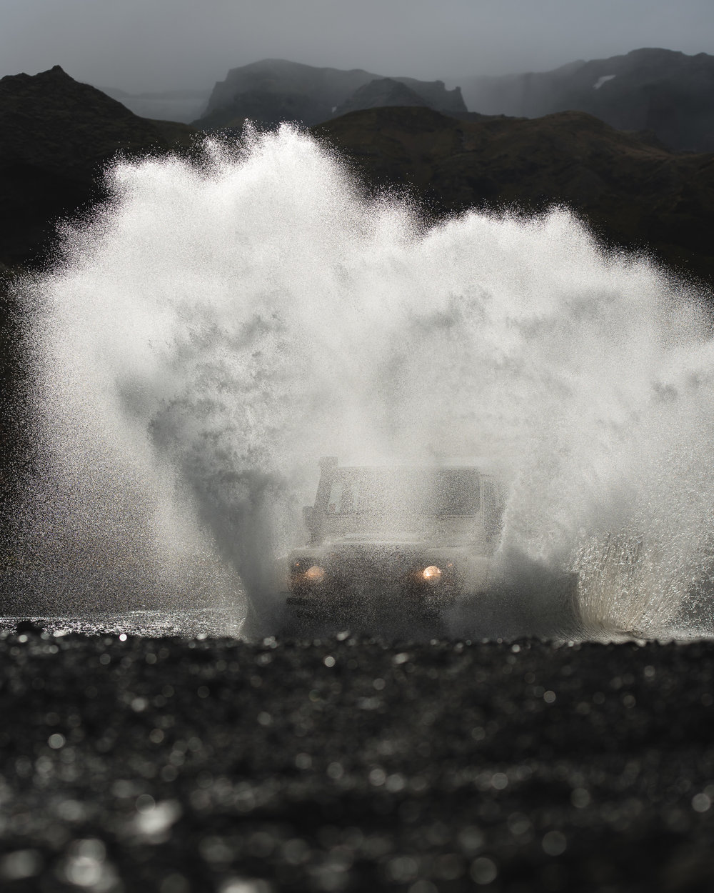 landrover in a puddle