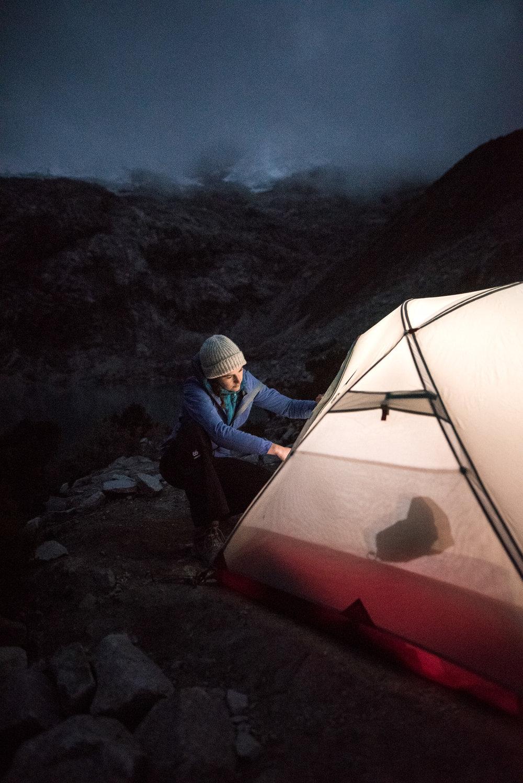 preparing the tent