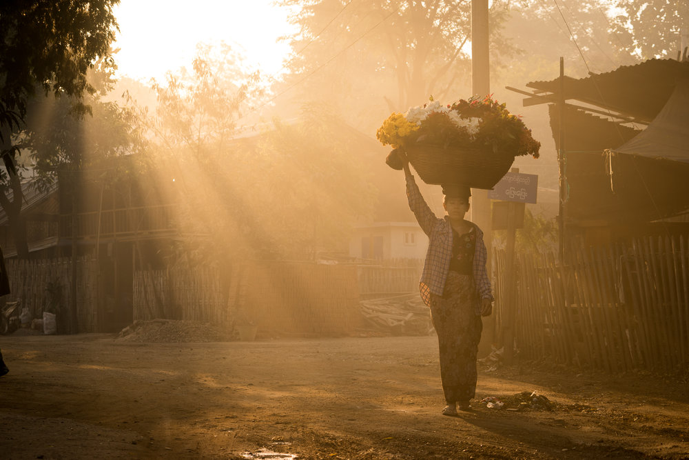 dusty sunrise in myanmar
