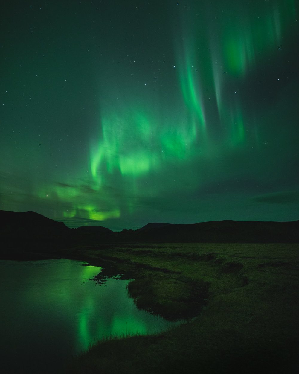 northern lights with reflection