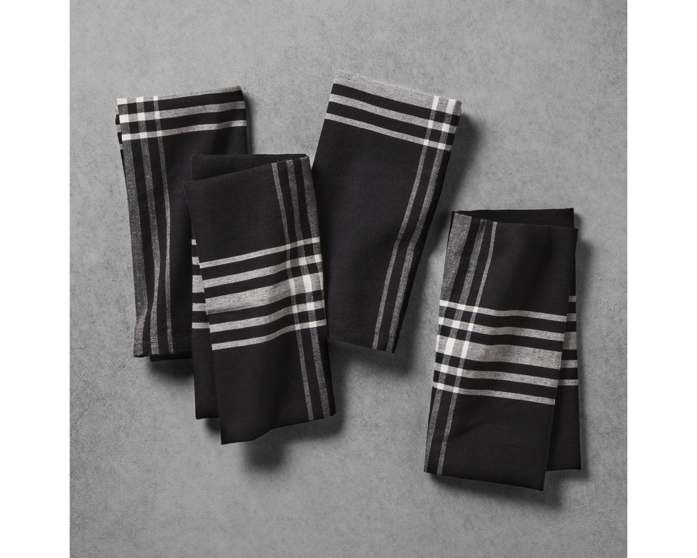 Black Plaid Napkins - Alternative option. Striped are not being sold online.