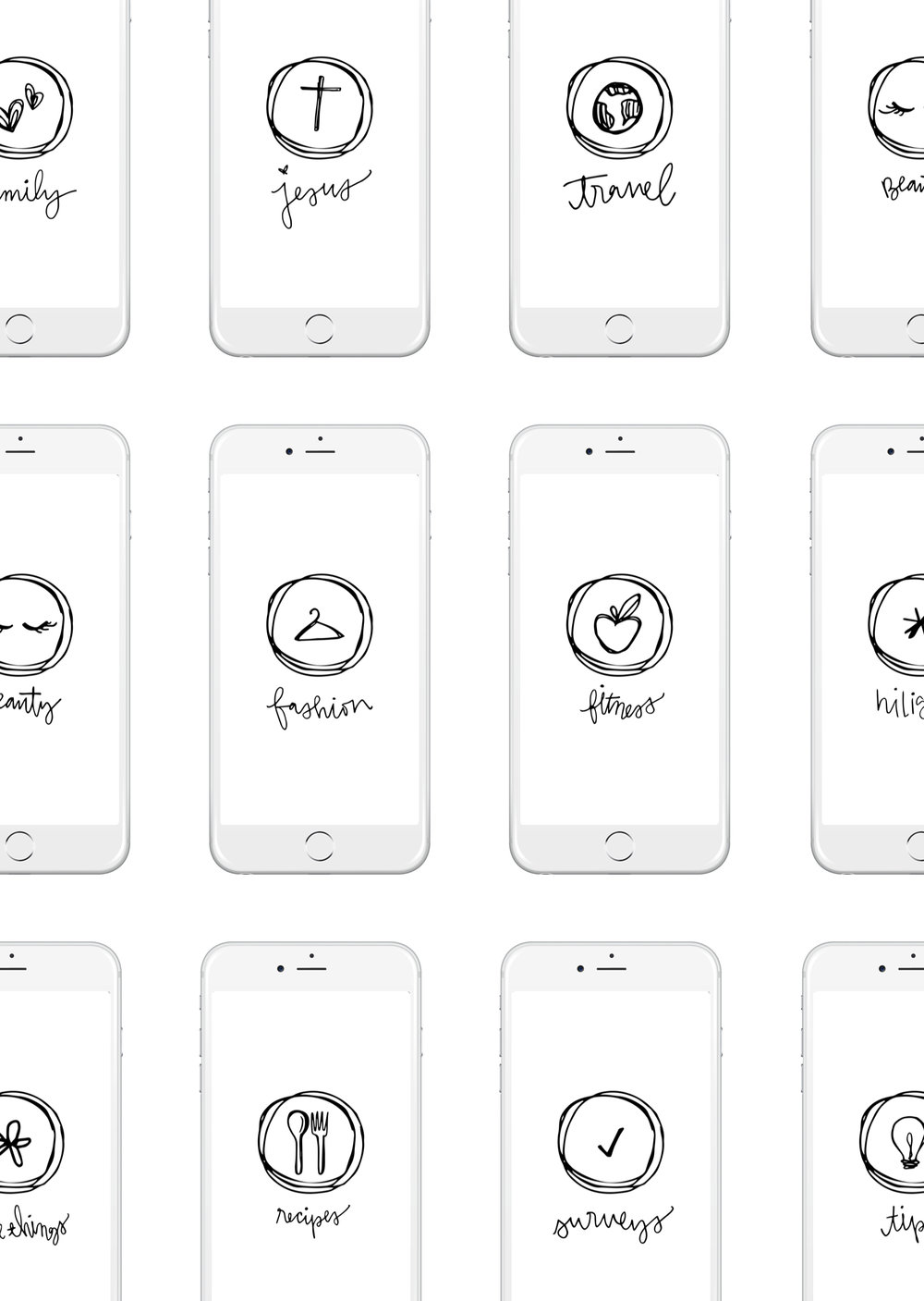 B+W Icon Set - Full set of 19 screens to use for your instagram hilights!CLICK HERE TO DOWNLOAD