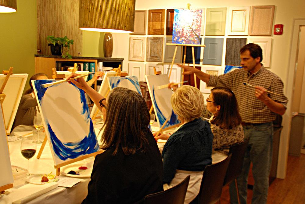 Teaching a wine & paint class at Benvenuti and Stein showroom in Winnetka, IL