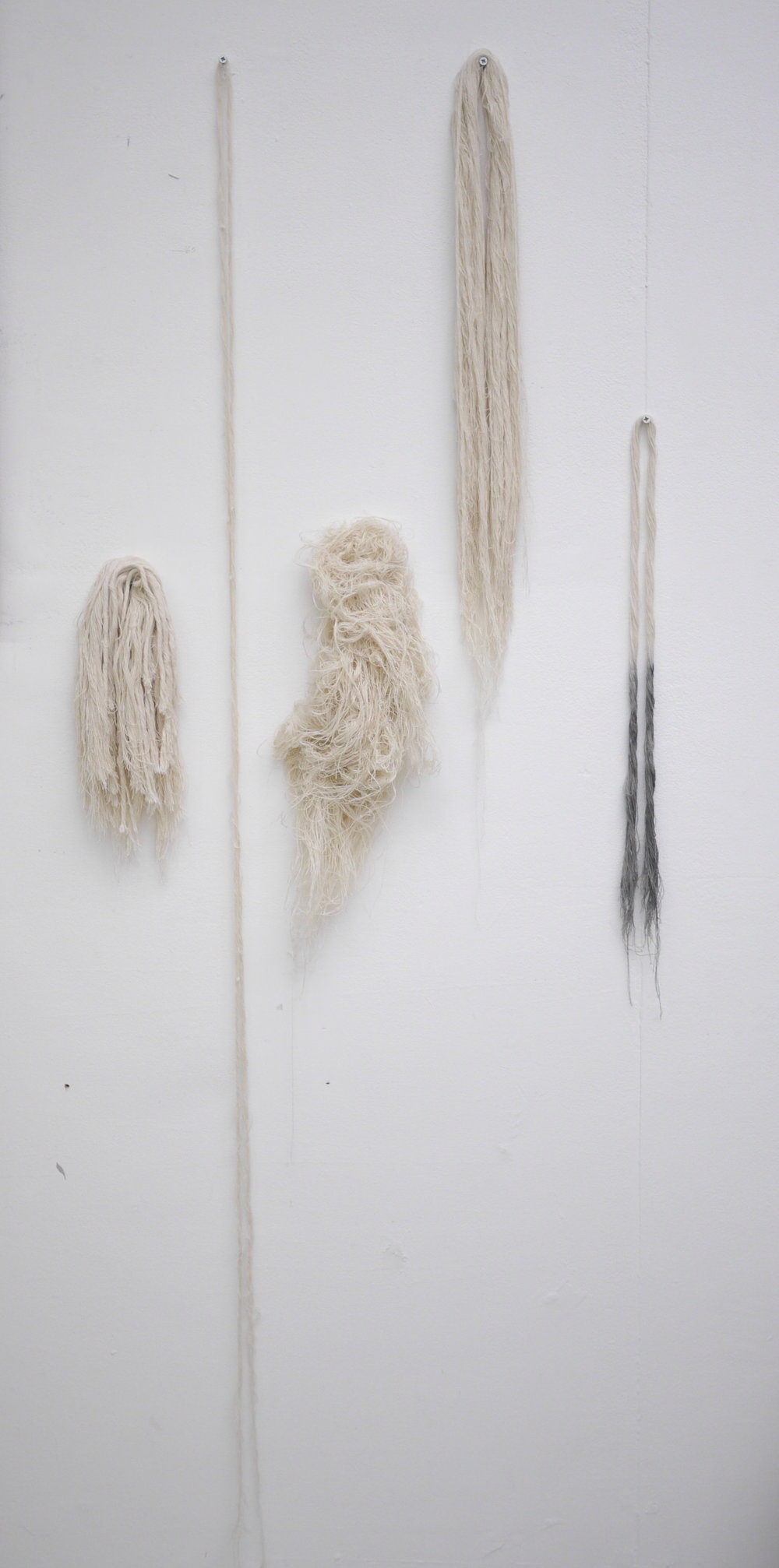 Ally McGinn (2017)  Fringe collection . Canvas with pigment. Size varies  Physically deconstructing the canvas transforms it into a state that both references and rejects its creation.  Kept from returning to its useful state, and stopped from it's intended use as a painting surface, the canvas questions what, and why, it is.