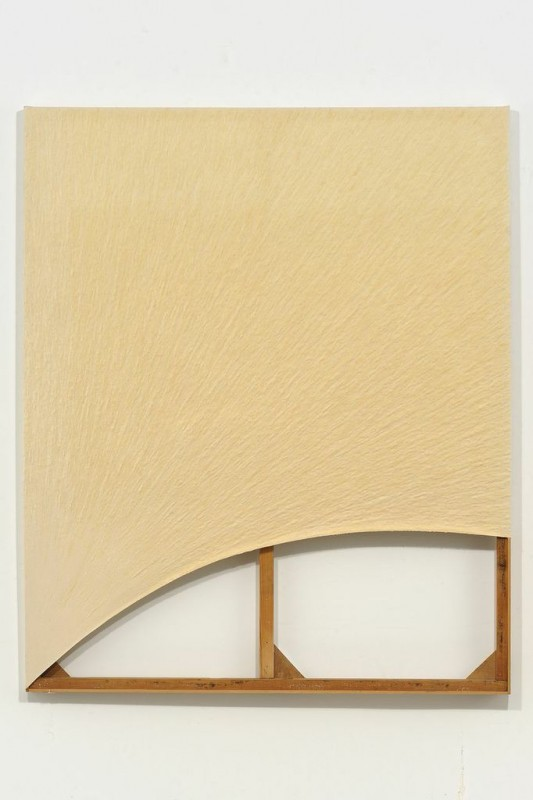Amikam Toren (2002)  Pidgin Painting (Yessss).  Pulped canvas, PVA and pencil. 71 x 59 Inches.