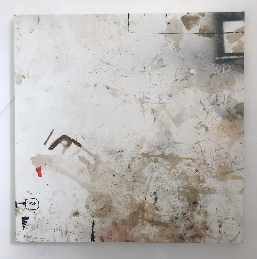 Ally McGinn (2017)  5856.  Found canvas. 120 x 120 cm.  The latest ' Working Surface ' painting. This canvas was placed and primed in July 2017.  The series consists of works that are placed on worktops in the paint workshop at Bath Spa University. This one was in place for 4 months.