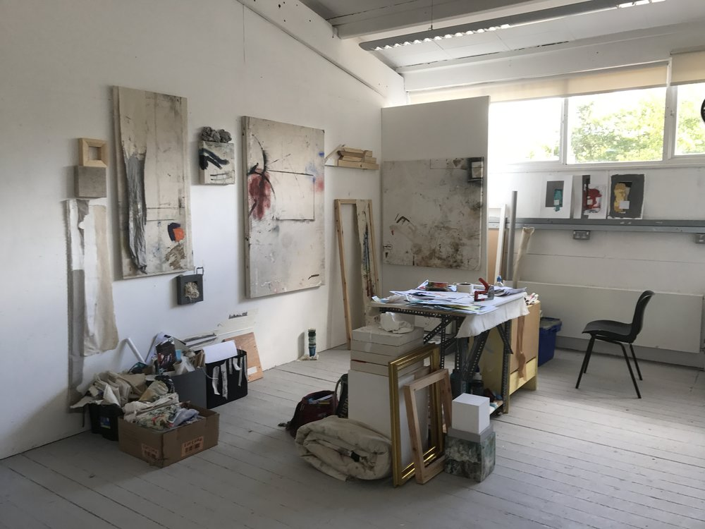 Ally McGinn (2017) Studio documentation.  Stdio View, 5th October 2017. Settled into my space now, making a few new pieces and beginning to test some boundries.