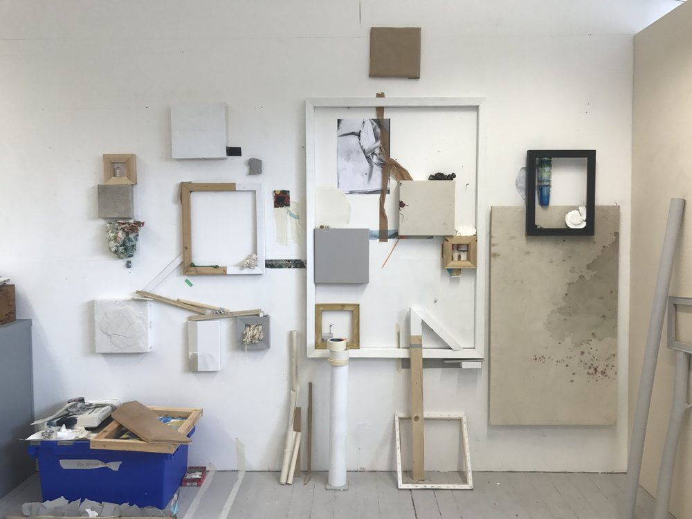 Ally McGinn (2017) [Studio documentation]. The studio wall by the end of this week. Big changes, but a similar conversation.
