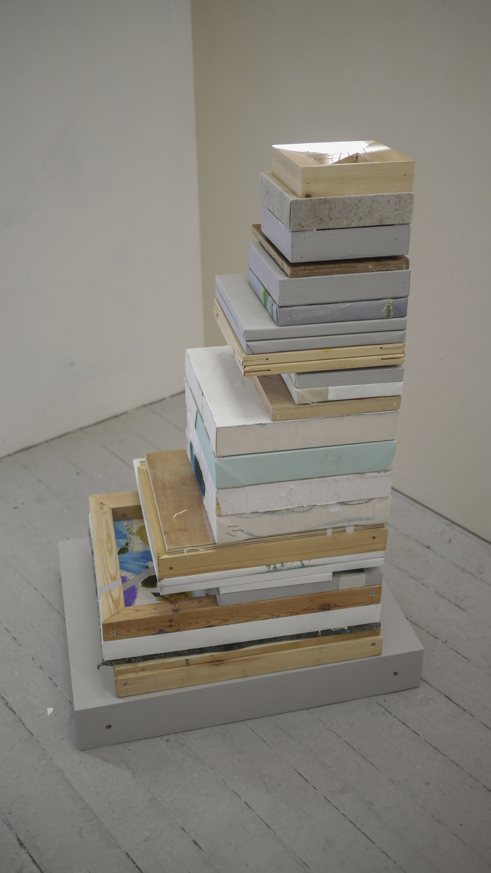 Ally McGinn (2017)  Stacked Balance.  Paintings on plinth. Size varies.