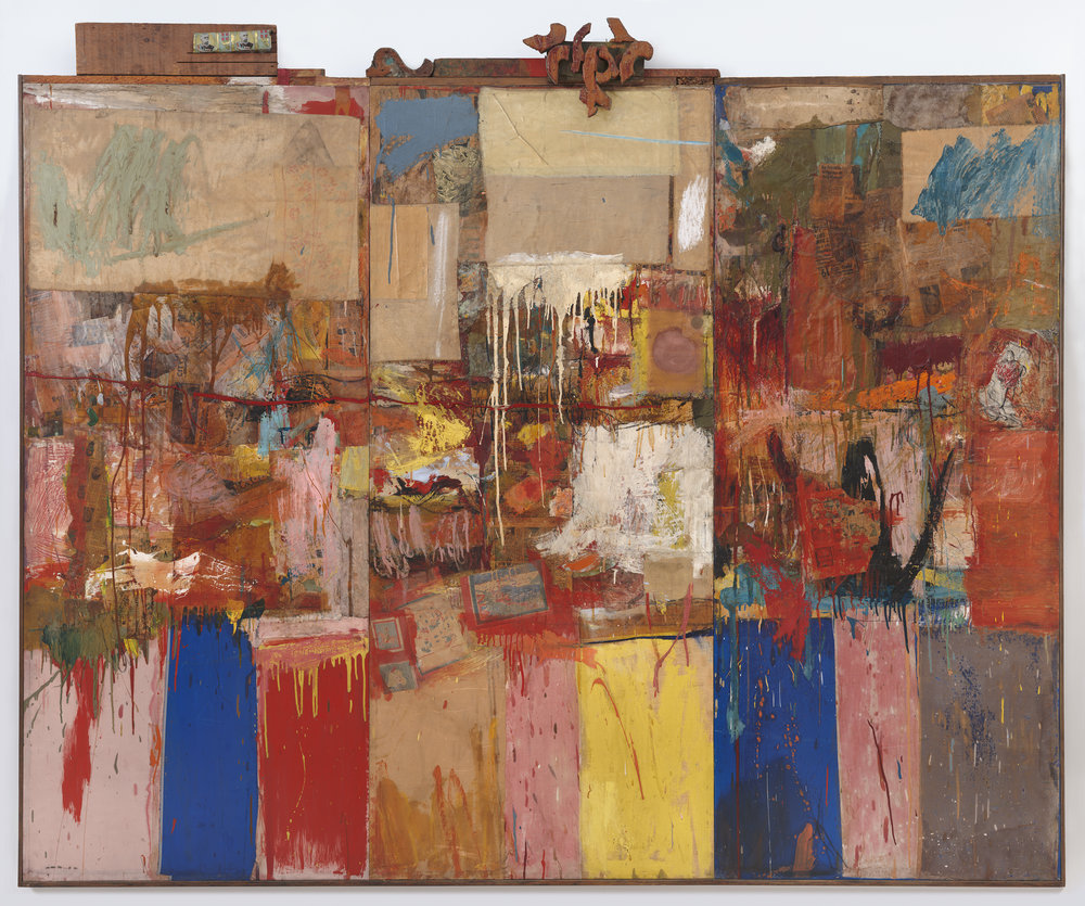 Robert Rauschenberg (1954/55)  Collection.  Oil, paper, fabric, wood, and metal on canvas. 203.2 x 243.84 x 8.89 cm.