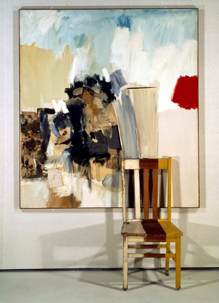 Robert Rauschenberg (1960)  Pilgrim . Combine: oil, graphite, paper, printed paper, and fabric on canvas with painted wood chair. 201.3 × 136.8 × 47.3 cm.