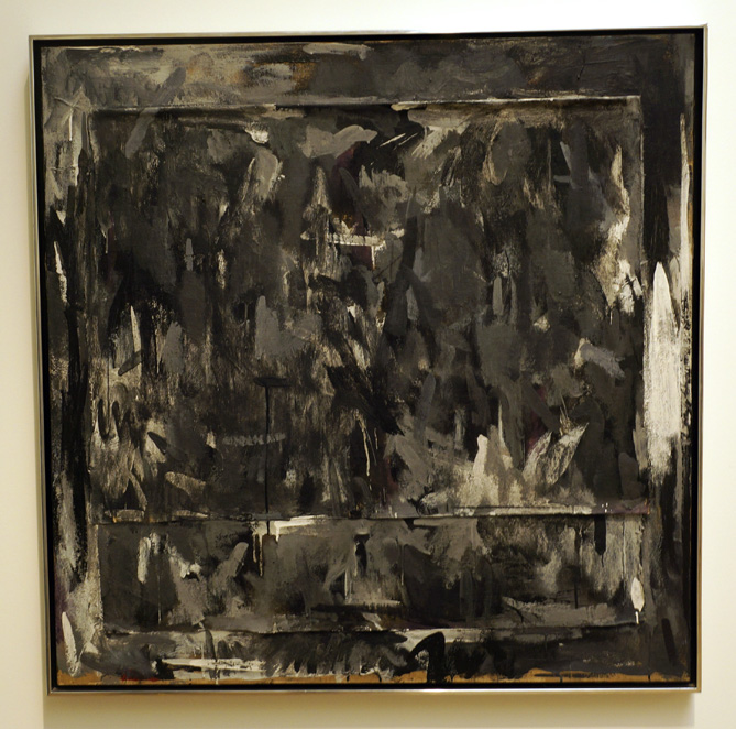 Jasper Johns (1960)  Disappearance 1.  Encaustic and canvas collage on canvas. 101.6 x 101.6 cm.
