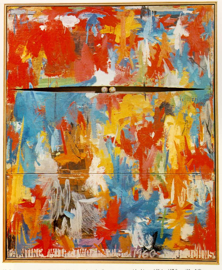 Jasper Johns (1960)  Painting with Two Balls.  Encaustic and collage on canvas with objects. 165.1 x 137.2 cm.