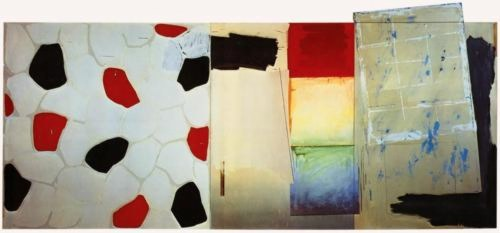 Jasper Johns (1967)  Harlem Light.  Oil and collage on canvas (four panels). 198.1 x 436.9 cm.
