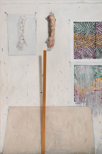 Jasper Johns (1982)  In the Studio.  Encaustic and collage on canvas with objects. 182.9 x 121.9 x 10.2 cm.