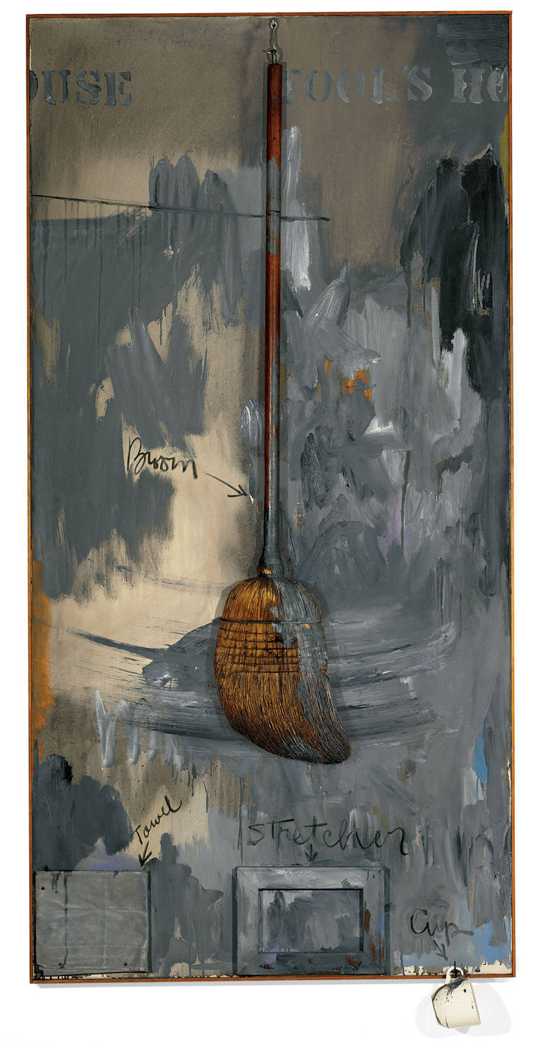 Jasper Johns (1962)  Fools House.  Oil on canvas with objects. 182.9 x 91.4 cm.