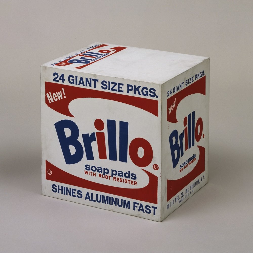 Andy Warhol (1964) ' Brillo Box (Soap Pads)'.  Synthetic polymer paint and silkscreen ink on wood. 43.3 x 43.2 x 36.5 cm.