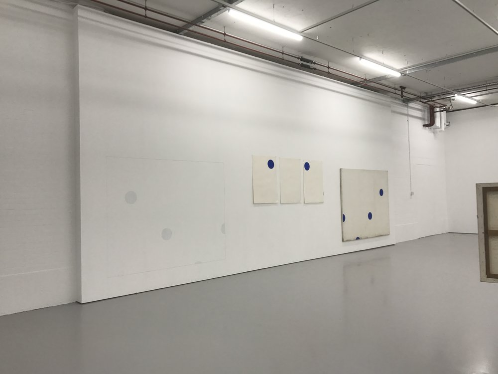 Kim Yong-Ik (2017)  I Believe My Works Are Still Valid.  [Exhibition shot]. Spike Island, Bristol. 26.11.17.  This combination of pieces transcends time, the element on the wall is a recent execution of an older idea. The repetition of marks and form brings the space into the work, while the different materials make us question the materials themselves.
