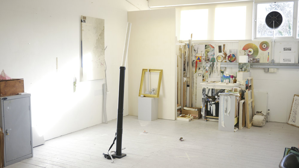 Ally McGinn (2017) Open studios view. 6.12.17.  This is the final view of my set up for the Open Studios event. None of the working elements of the studio were removed, and it was interesting to see the engagement people had with that element of things.  The differences between studio and gallery can be seen in situ here. The difference is part of the work and it gives insight into the mind of the artist, and the working process of creating art. I think this is an interesting point for the work, as I am interested in the communication of perceptual questions. Seeing all the elements I have considered for inclusion in the work questions why those elements were chosen while inspiring a transitory state for these objects; the idea that it could change at any moment.  I would be interested to explore the idea of changing an element of the installation between each day of an exhibition.