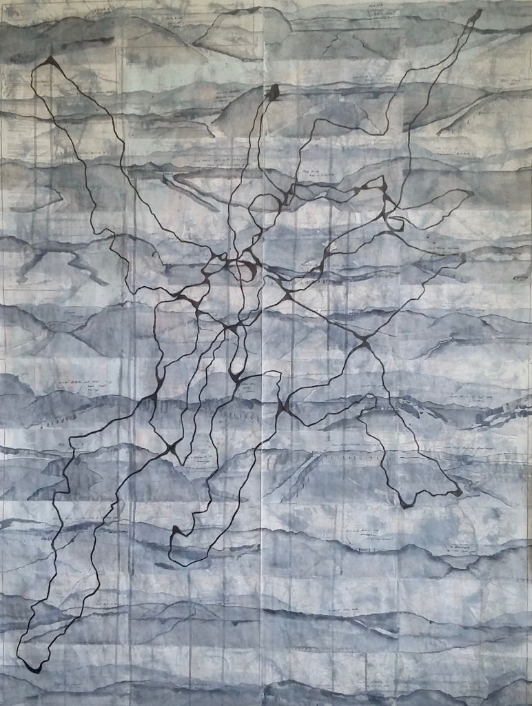 Lydia Halcrow (Unknown)  The Black Ground IV.  Ink, Graphite and Gesso on OS Map 139. Size unspecified.