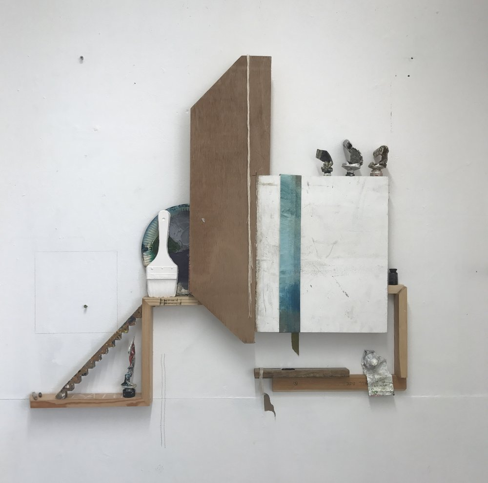 The Performativity of Painting (2018) Paint tubes, paper plate, white tack, wooden cube, paintbrush rest, stretcher pieces and wooden shelf. Size can vary.JPG