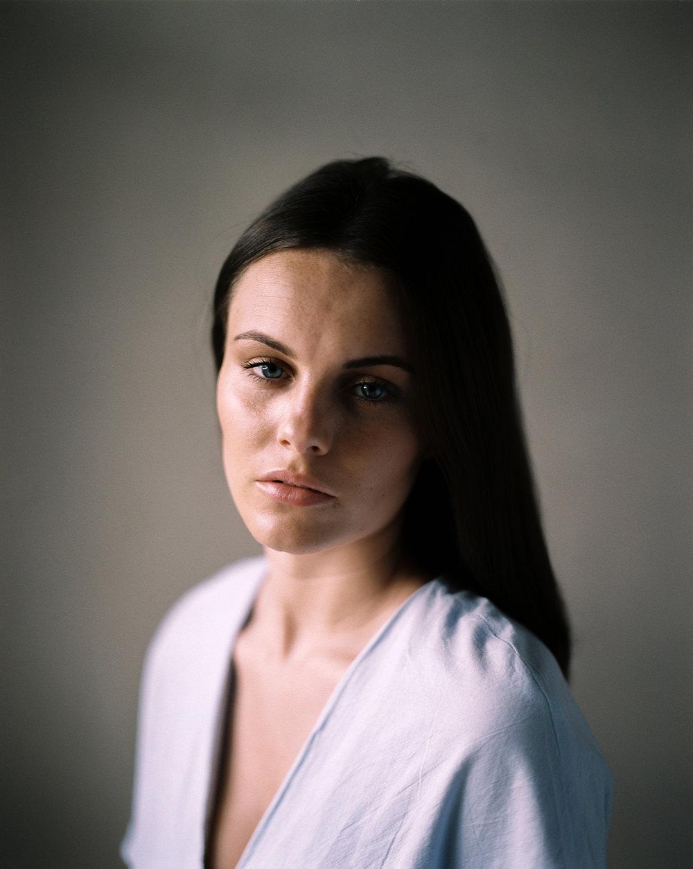 Model test session shot on Kodak Portra 400 film. By Dmitry Serostanov
