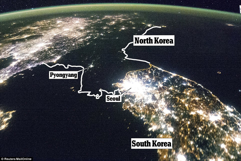 Satellite image of North Korea at night. Notice only the capital city, Pyongyang is lit at night.
