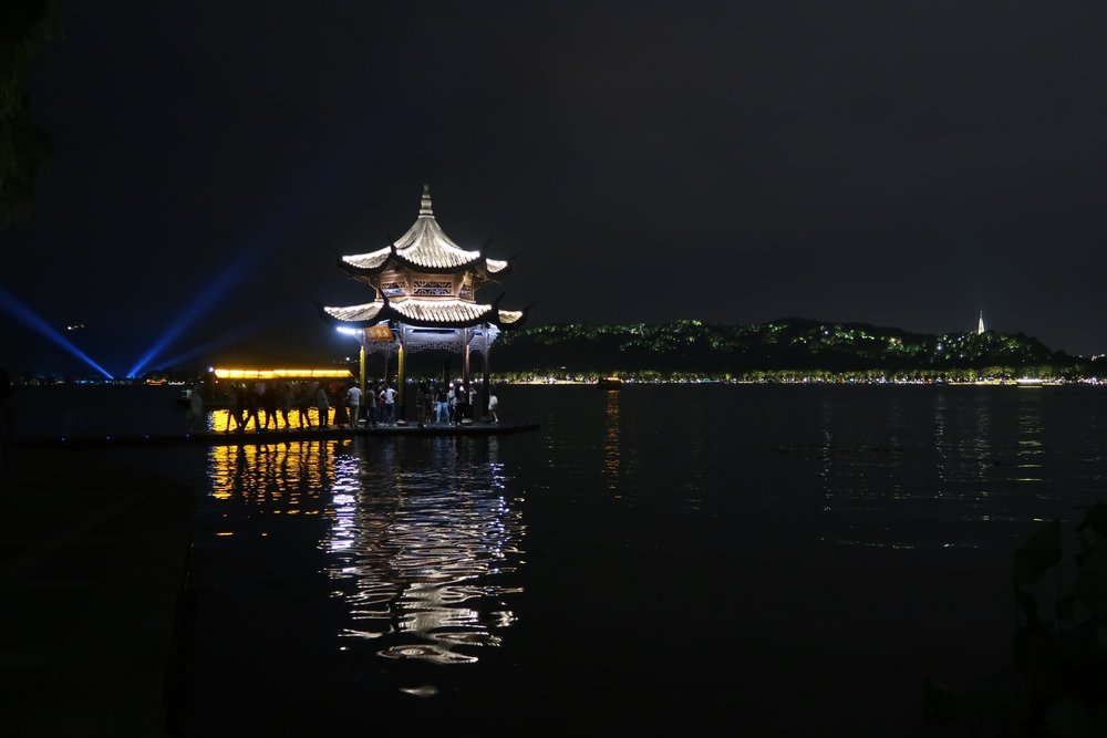 Pretty view of West Lake at night.