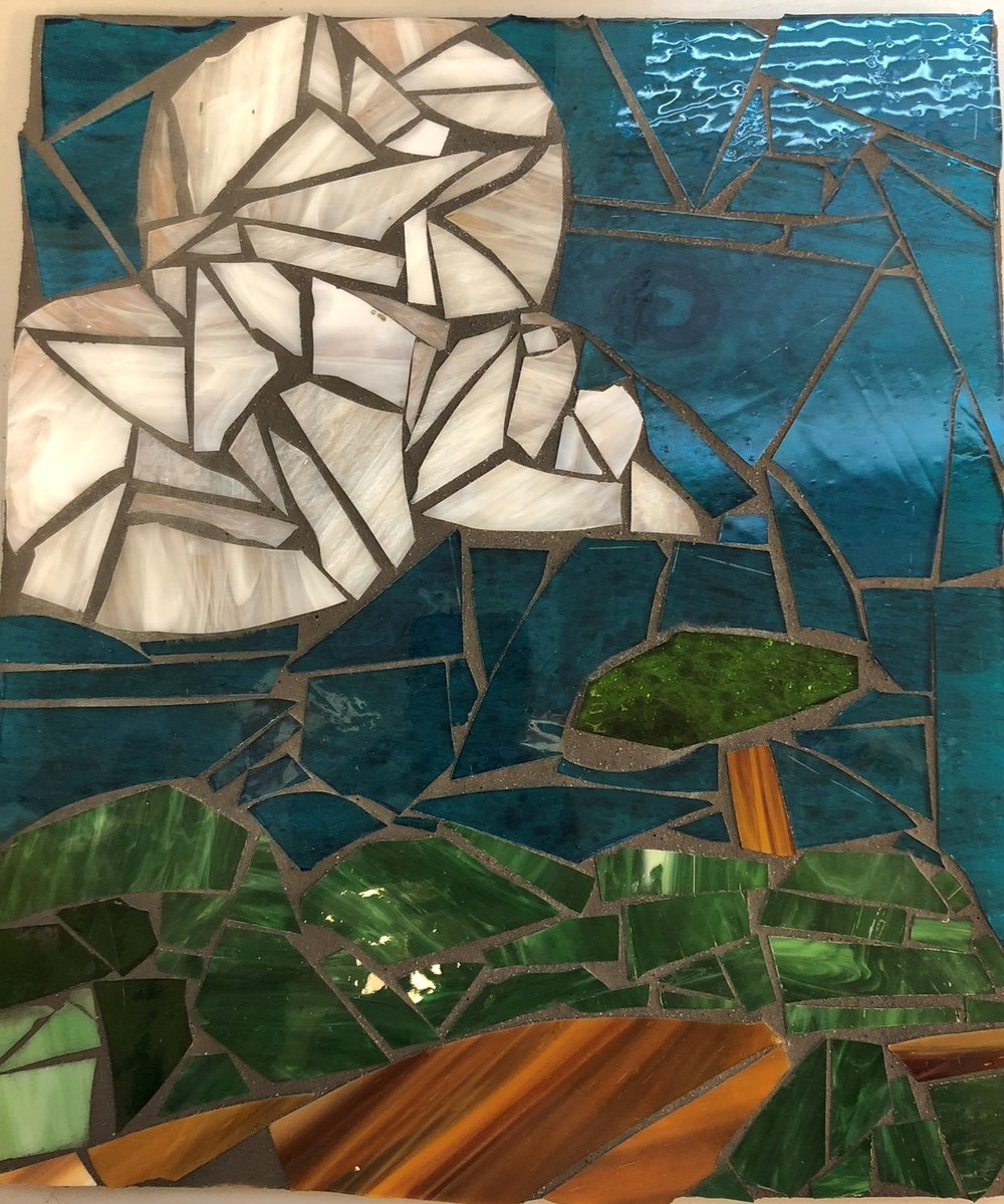 """View"" - Claire Maxwell, 8th Grade Mixed Media Cut Glass Mosaic"