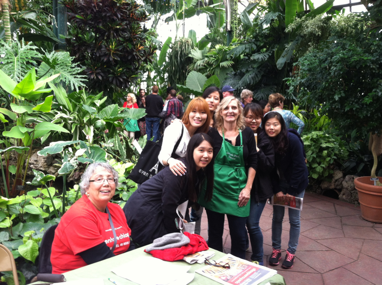 Julia Bachrach with visitors of the Lincoln Park Conservatory during Open House Chicago, 2013.