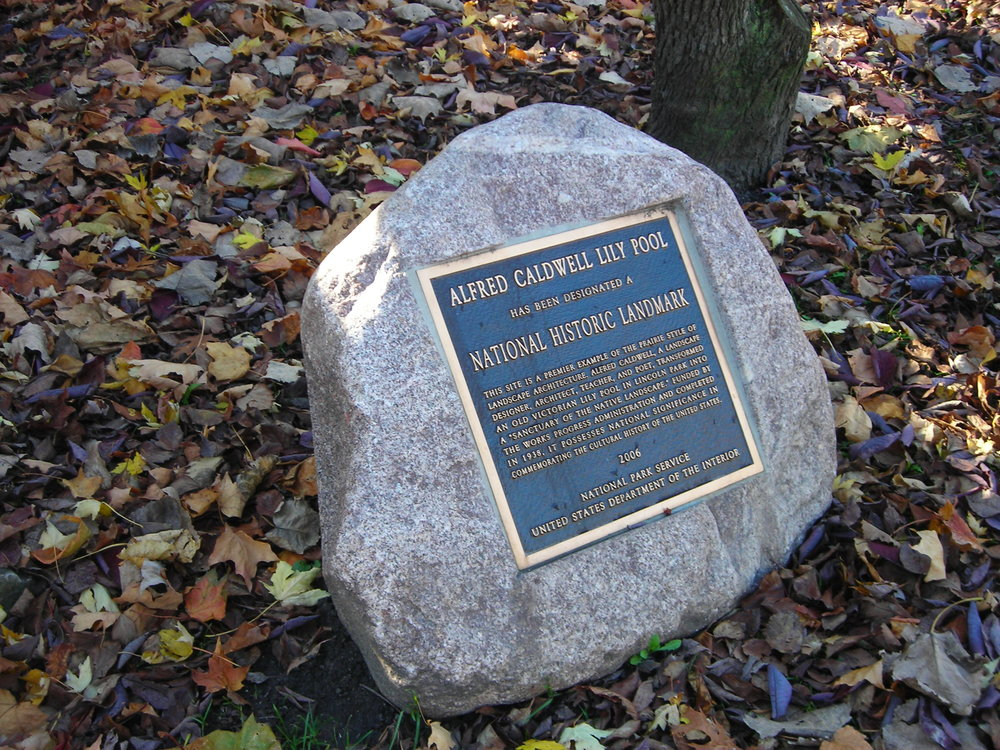 National Historic Landmark Plaque for Caldwell Lily Pool