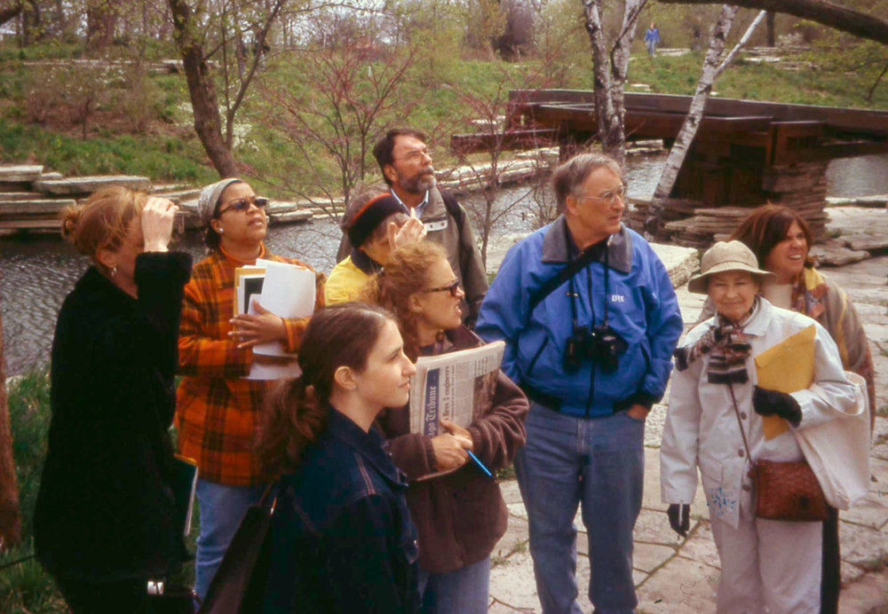 Volunteer docents during training session that focused on nature and wildlife of the Alfred Caldwell Lily Pool, 2005.