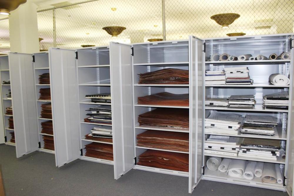 Storage shelving for historic plans and drawings at Harold Washington Library, 2014.