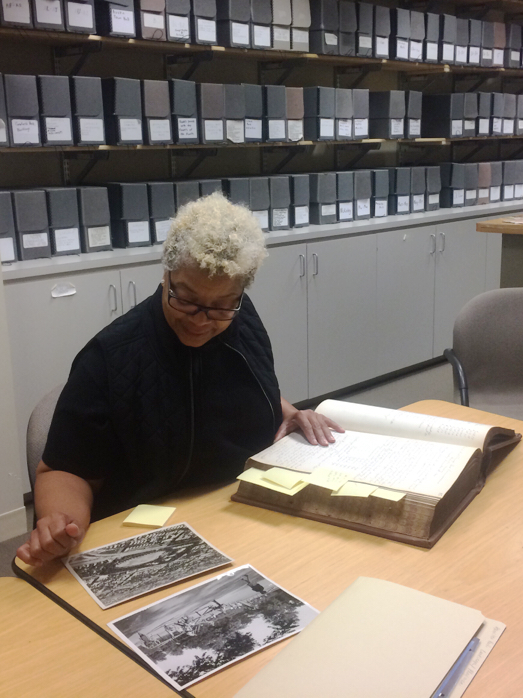 Researcher working in Chicago Park District Archives Room, 2016.