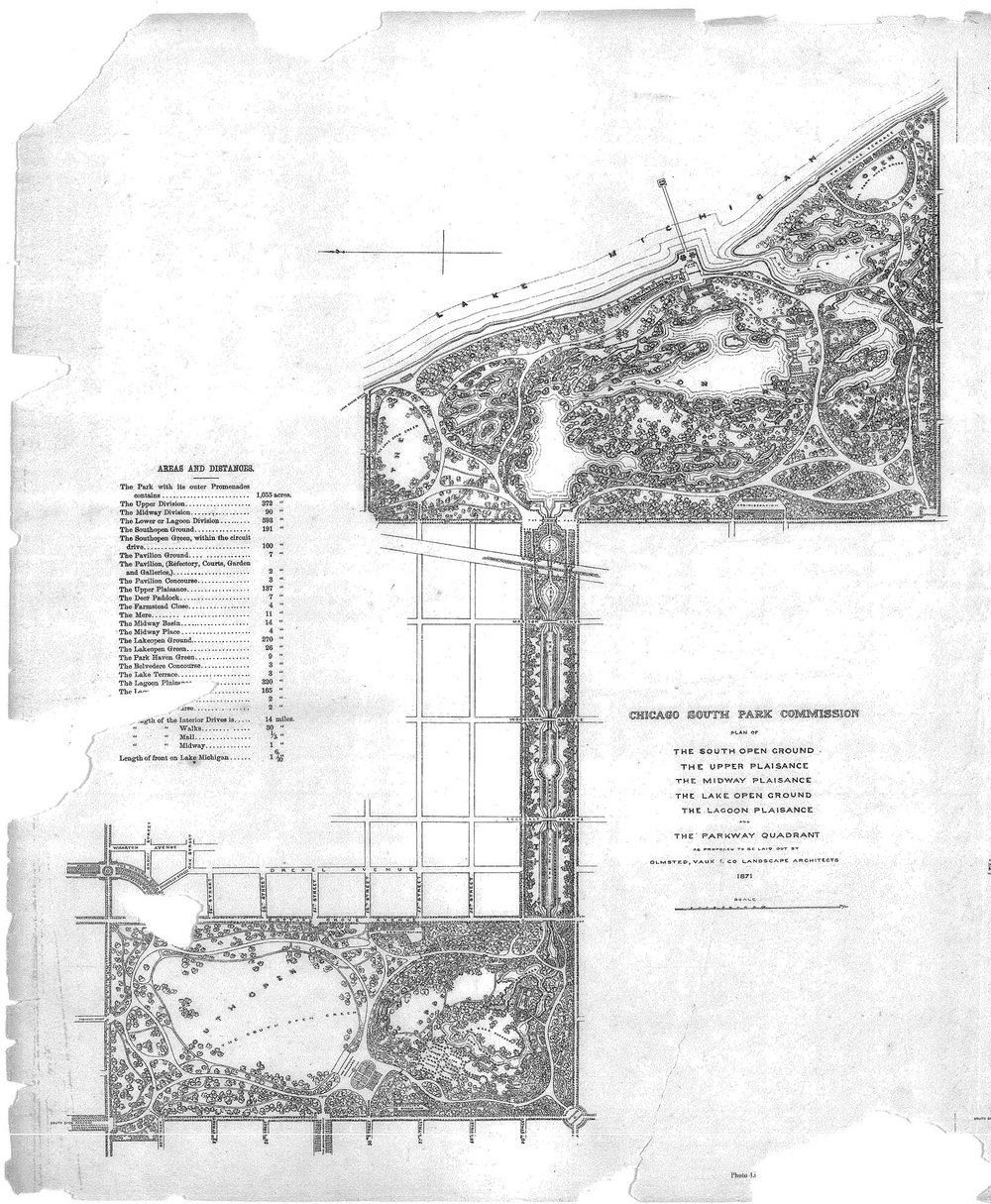 Plan of South Park (now Jackson and Washington Parks and Midway Plaisance) Olmsted & Vaux, 1871. Chicago Park District Records, Special Collections, Chicago Public Library.