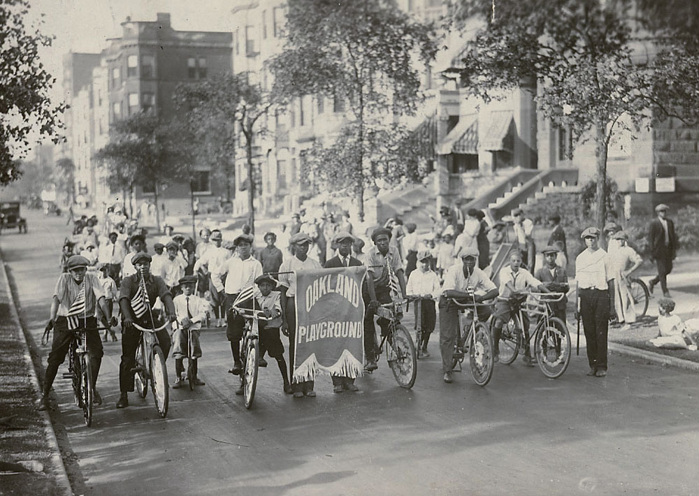 Bicyclists from Oakland Playground (a non-extant municipal park at 40th and Langley Streets) ca. 1925, Chicago Park District Records: Photographs, Special Collections, Chicago Public Library.