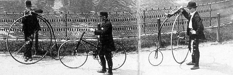 This 1880s photograph of cyclists in Lincoln Park was published in an  Annual Report of the Chicago Park District,  1976.