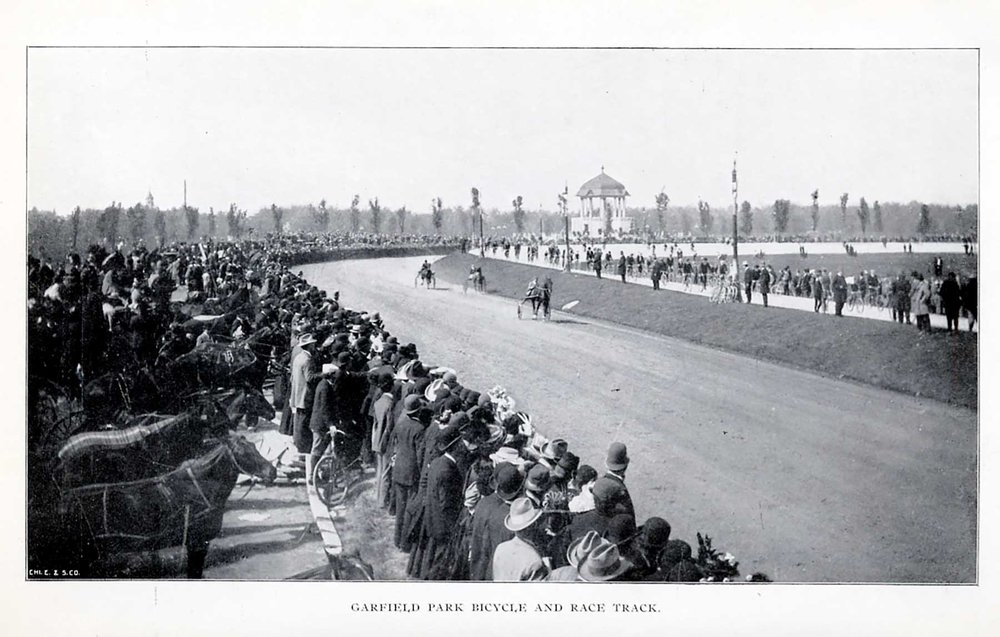 Garfield Park bicycle and race track, from  Annual Report of the West Chicago Park Commissioners,  1896.