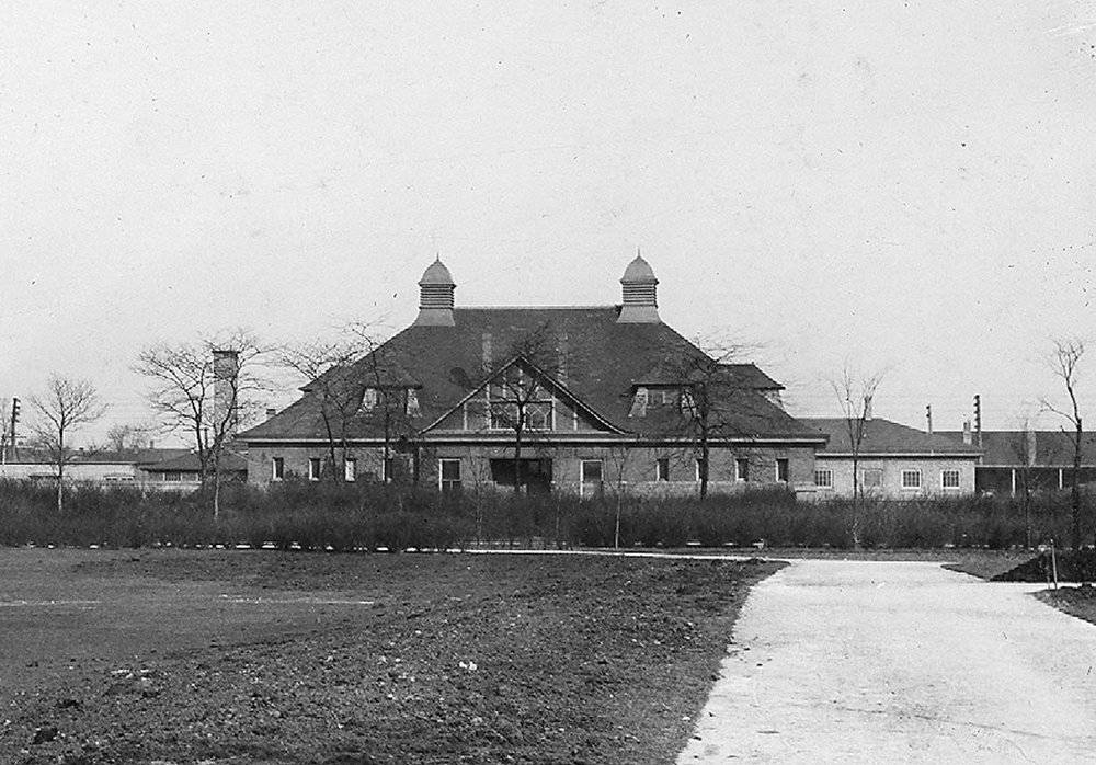 Jenney's Garfield Park Stables, erected in 1890, served as a maintenance building until it was destroyed by fire in the early 2000s. Chicago Park District Records: Photographs, Special Collections, Chicago Public Library.