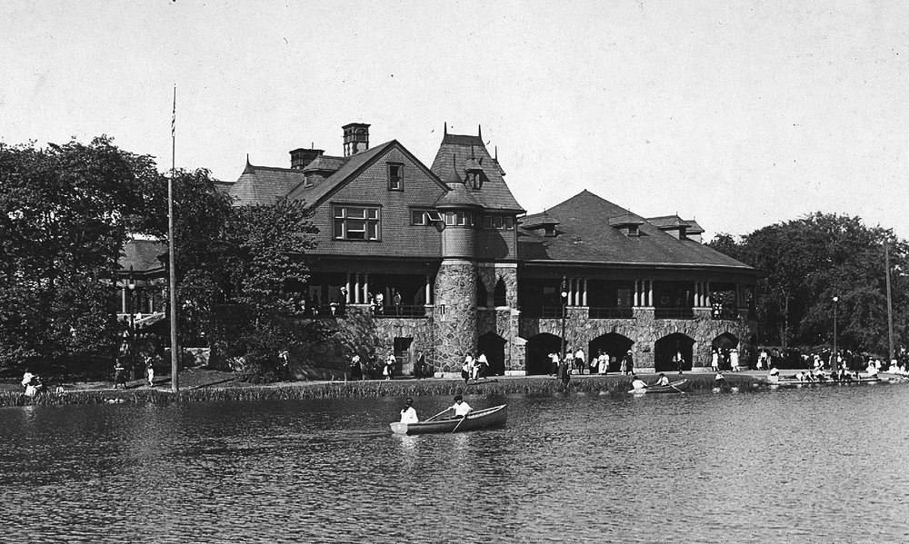 Jenney's Humboldt Park Refectory was a handsome stone and shingle Queen Anne style structure, ca. 1910.  Chicago Park District Records: Photographs, Special Collections, Chicago Public Library.