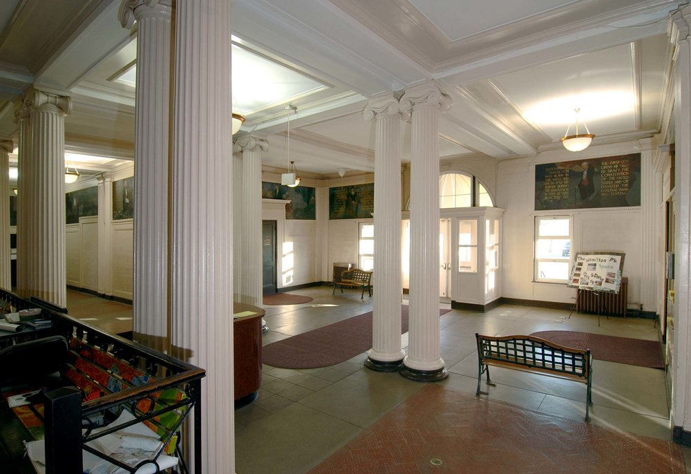 Hamilton Park, one of the original ten D.H. Burnham & Co. field houses, retains its original lobby with paired Ionic columns, 2012, photo by James Iska.