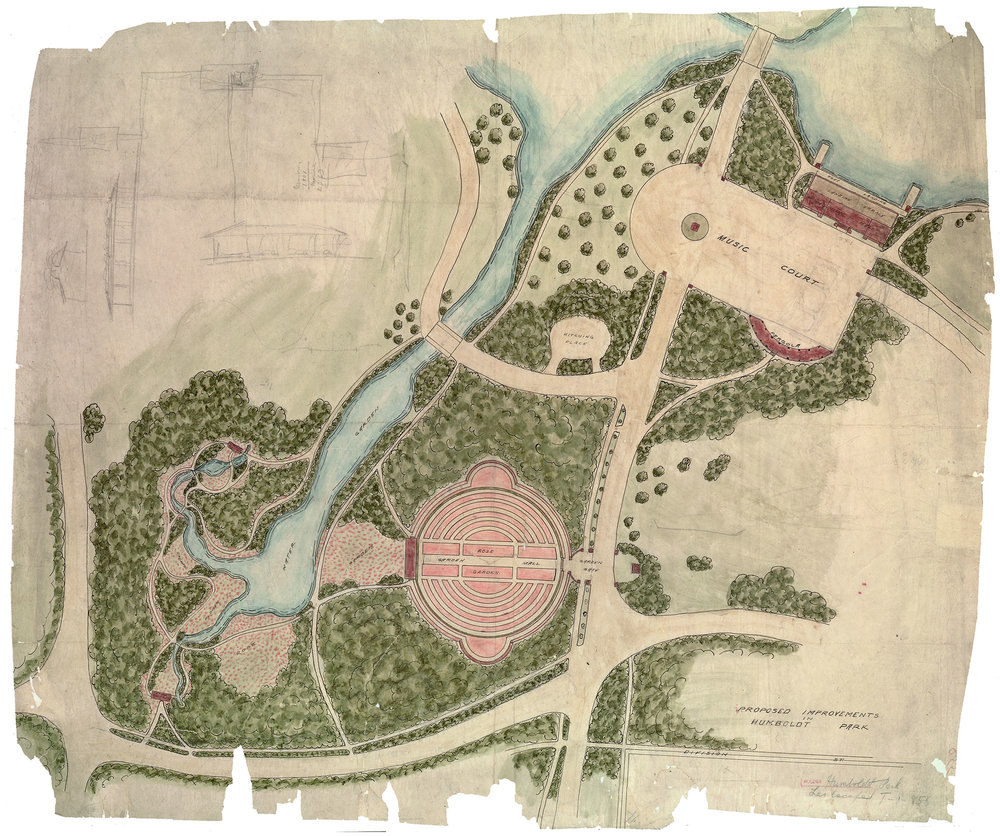 Jensen's Plan of Proposed Improvements to Humboldt Park included Prairie River, a music court and boat house, and the circular Formal Garden. 1907, Chicago Park District Records: Drawings, Special Collections, Chicago Public Library.