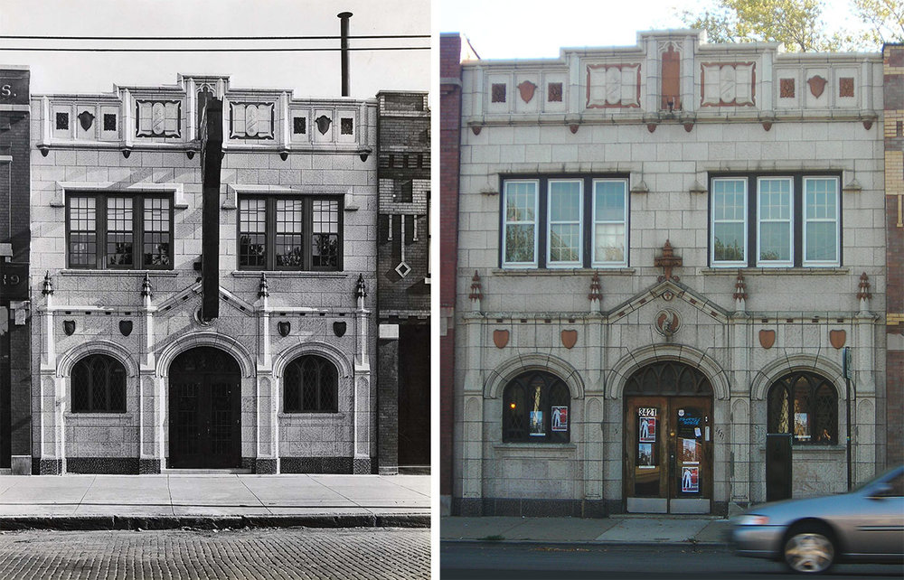 Rendering (ca. 1926) and contemporary photograph of Hatzfeld's funeral home at 3421 W. Fullerton Avenue. Photo by Julia Bachrach, 2010.